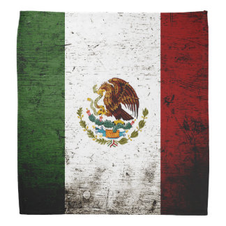 Black Grunge Mexico Flag Bandana