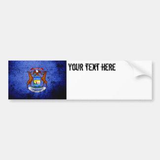 Black Grunge Michigan State Flag Bumper Sticker