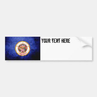 Black Grunge Minnesota State Flag Bumper Sticker