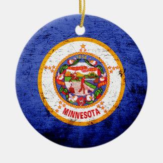 Black Grunge Minnesota State Flag Christmas Tree Ornament