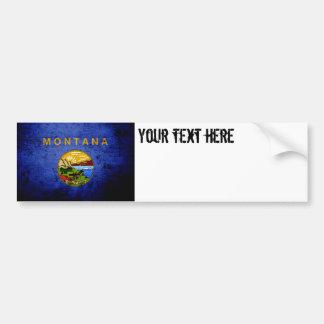 Black Grunge Montana State Flag Bumper Sticker