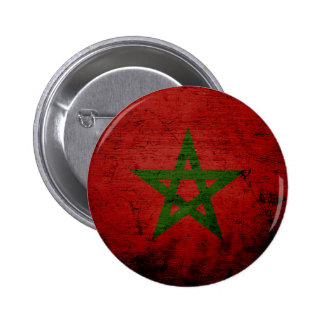 Black Grunge Morocco Flag Pin