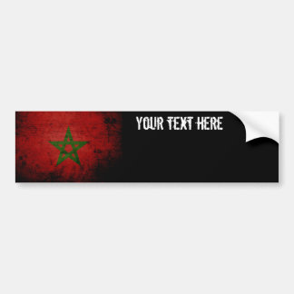Black Grunge Morocco Flag Bumper Sticker