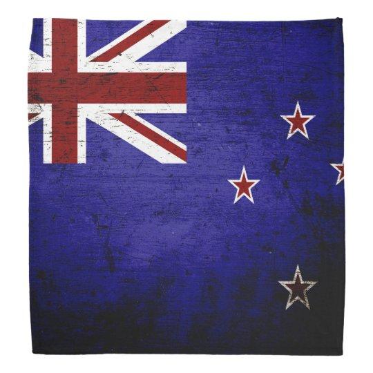 Black Grunge New Zealand Flag 1 Bandana