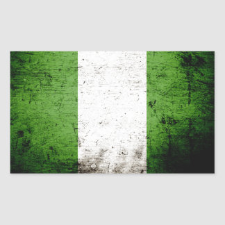 Black Grunge Nigeria Flag Rectangular Sticker