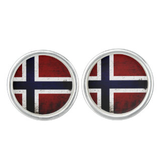 Black Grunge Norway Flag Cuff Links