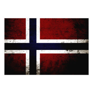Black Grunge Norway Flag Art Photo