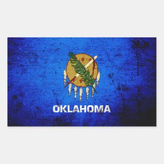 Black Grunge Oklahoma State Flag Rectangular Sticker
