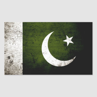 Black Grunge Pakistan Flag Rectangular Sticker