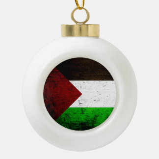 Black Grunge Palestine Flag Ceramic Ball Christmas Ornament
