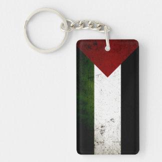 Black Grunge Palestine Flag Double-Sided Rectangular Acrylic Key Ring
