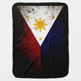 Black Grunge Philippines Flag Baby Blanket