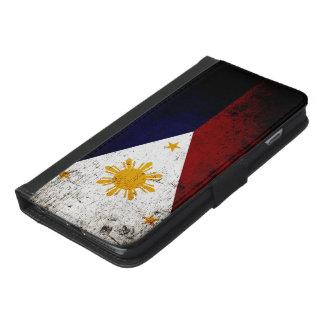 Black Grunge Philippines Flag iPhone 6/6s Plus Wallet Case