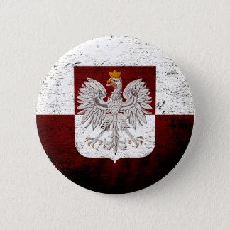 Black Grunge Poland Flag 6 Cm Round Badge