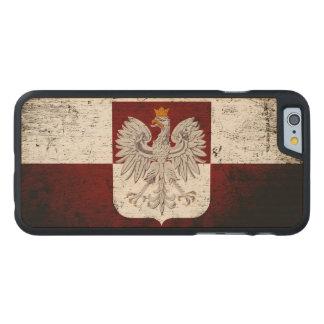Black Grunge Poland Flag Carved Maple iPhone 6 Case