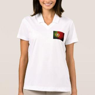 Black Grunge Portugal Flag Polo Shirt