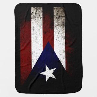 Black Grunge Puerto Rico Flag Baby Blanket