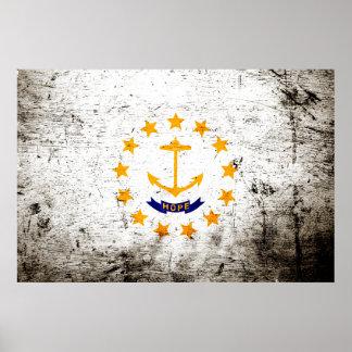 Black Grunge Rhode Island State Flag Poster
