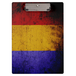 Black Grunge Romania Flag Clipboard
