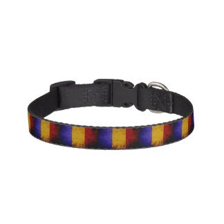 Black Grunge Romania Flag Pet Collar