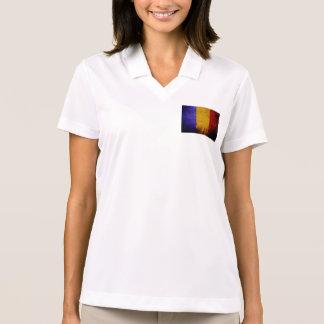 Black Grunge Romania Flag Polo T-shirt