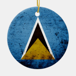 Black Grunge Saint Lucia Flag Christmas Ornament