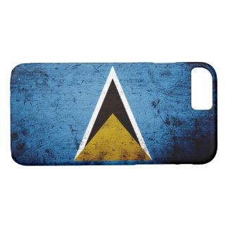 Black Grunge Saint Lucia Flag iPhone 7 Case