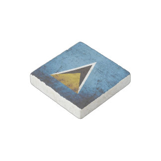 Black Grunge Saint Lucia Flag Stone Magnet