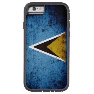 Black Grunge Saint Lucia Flag Tough Xtreme iPhone 6 Case