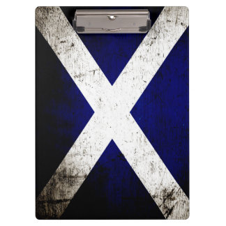 Black Grunge Scotland Flag Clipboard