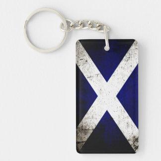 Black Grunge Scotland Flag Double-Sided Rectangular Acrylic Key Ring