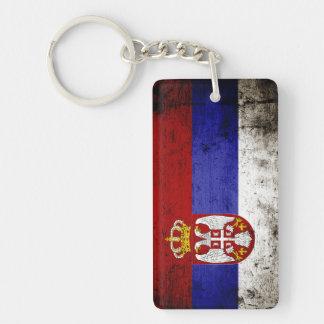 Black Grunge Serbia Flag Double-Sided Rectangular Acrylic Key Ring