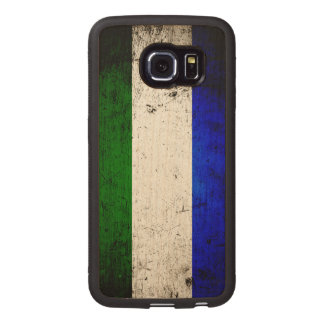 Black Grunge Sierra Leone Flag Wood Phone Case