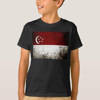 Black Grunge Singapore Flag T-Shirt