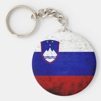 Black Grunge Slovenia Flag Basic Round Button Key Ring