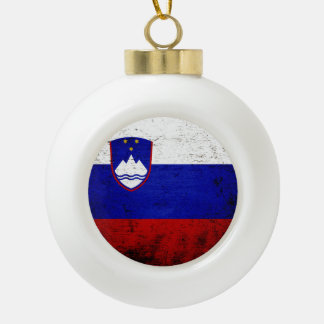 Black Grunge Slovenia Flag Ceramic Ball Christmas Ornament
