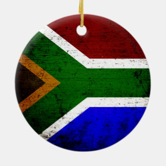 Black Grunge South Africa Flag Christmas Ornament