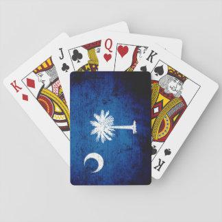 Black Grunge South Carolina State Flag Playing Cards