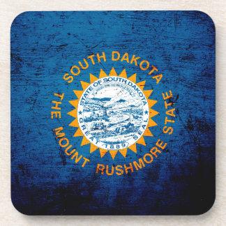 Black Grunge South Dakota State Flag Beverage Coasters