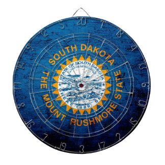 Black Grunge South Dakota State Flag Dart Board