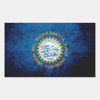 Black Grunge South Dakota State Flag Rectangular Sticker