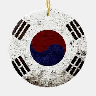 Black Grunge South Korea Flag Christmas Ornament
