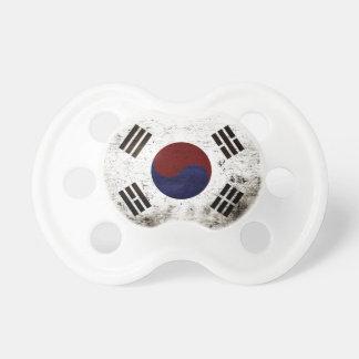 Black Grunge South Korea Flag Pacifier
