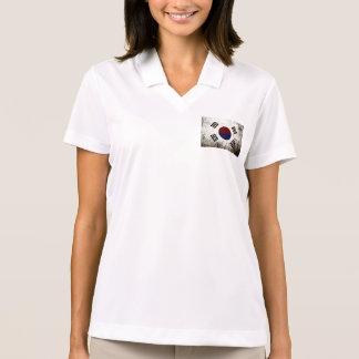 Black Grunge South Korea Flag Polo T-shirt
