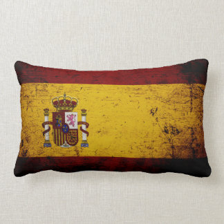 Black Grunge Spain Flag Lumbar Cushion
