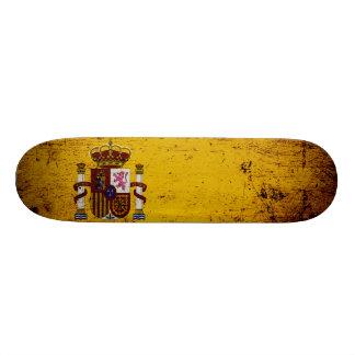 Black Grunge Spain Flag Skate Boards