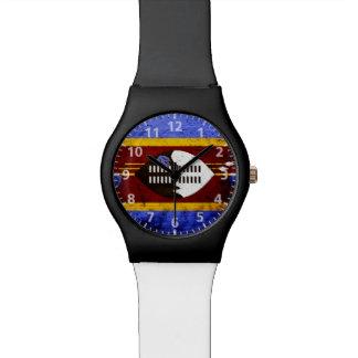 Black Grunge Swaziland Flag Watches