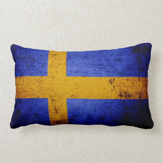 Black Grunge Sweden Flag Lumbar Pillow