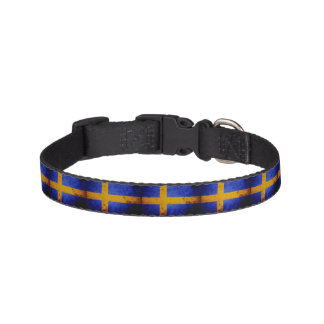 Black Grunge Sweden Flag Pet Collar