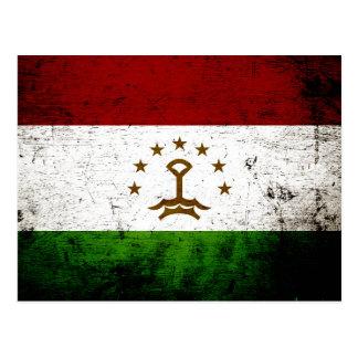 Black Grunge Tajikistan Flag Postcard